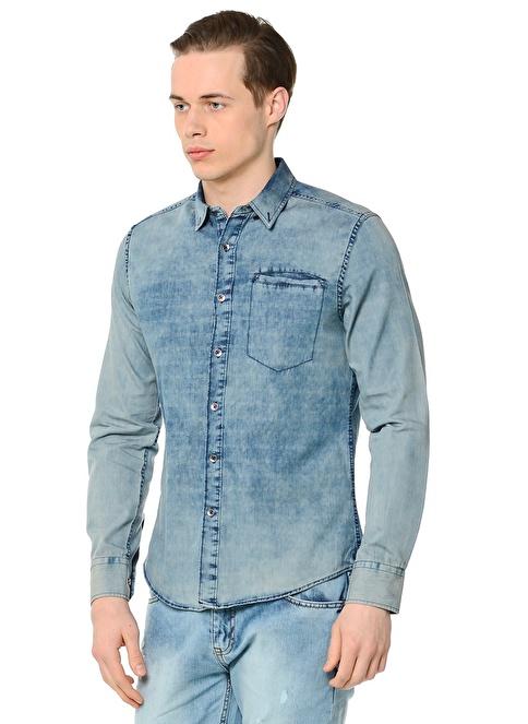 Collezione Uzun Kollu Gömlek Mavi